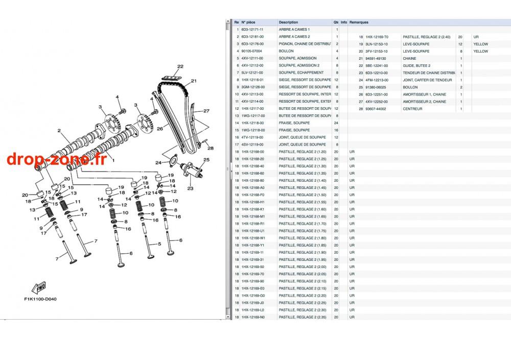 Arbres à cames/ Soupapes VX V1 15/ V1 Sport 12-15/ Cruiser 12-15/ Deluxe 12-15