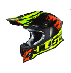 Casque JUST1 J12 Dominator rouge/lime fluo