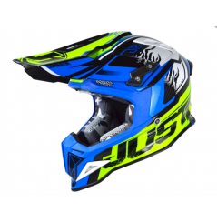 Casque JUST1 J12 Dominator bleu/jaune fluo
