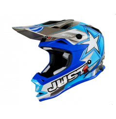 Casque JUST1 J32 Moto X bleu