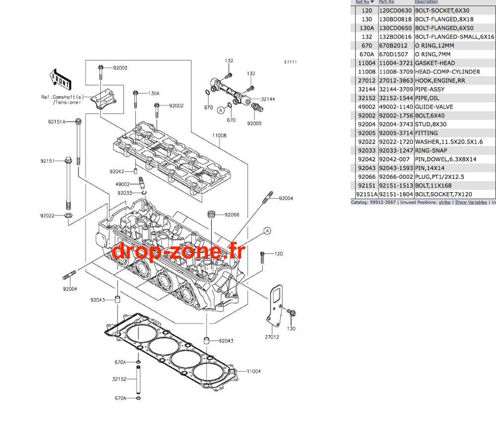 Culasse STX-15F 04-19/ Ultra LX 08-20/ SX-R 1500 17-20/ STX 160 20