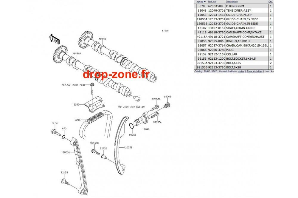 Arbres à cames STX-15F 11-19/ Ultra LX 12-19/ SX-R 1500 17-19