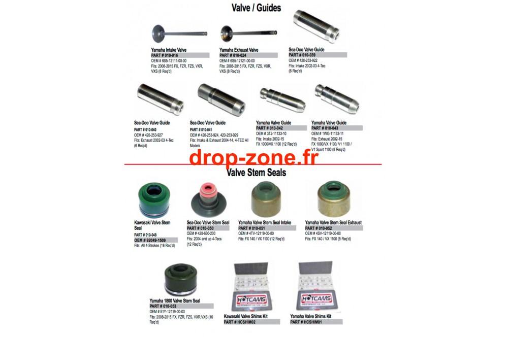 soupapes  guides  joints et pastilles  u203a drop zone unlimited